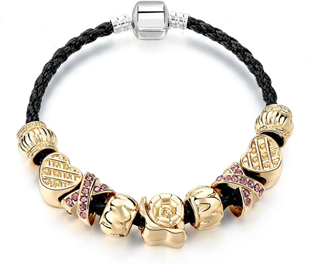 Leather low-pricing Bracelets For Women Gold Online limited product Charms Bangle Color