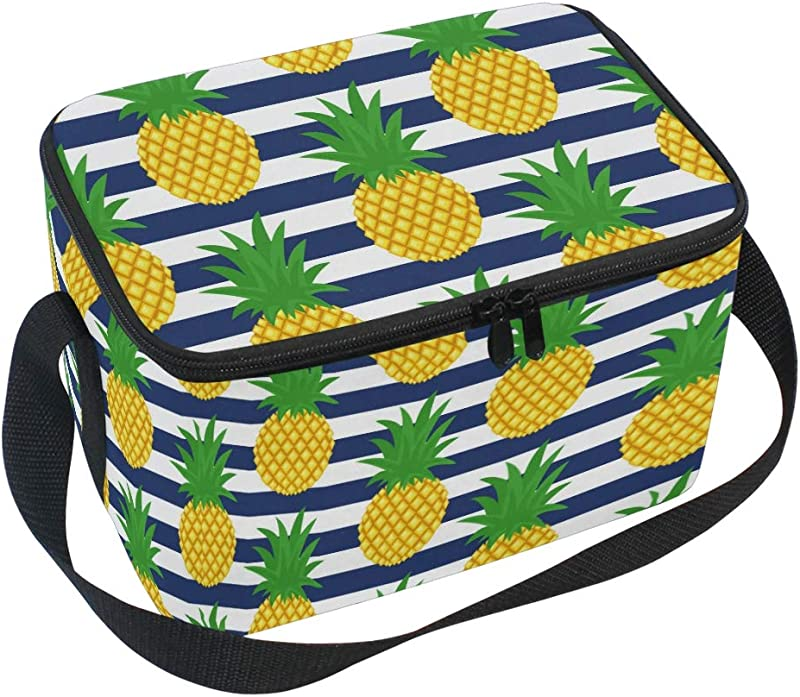 Lunch Bag Tote Bag Cute Summer Pineapple Stripes Lunch Box Insulated Lunch Holder For Men Women