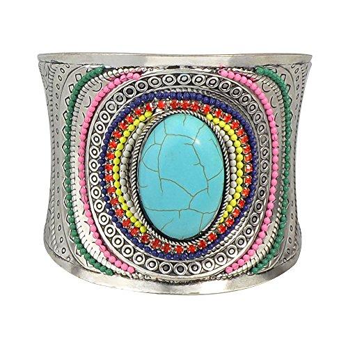Feelontop® ethnische indische Bunte Perlen Blaue Stein große individuelle offene Manschette Armreifen mit Schmuckbeutel (blau)
