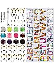 PUDSIRN Hars Alfabet Mould, 78 Stks Epoxy Siliconen Letter & Nummer Mould Kit DIY Casting Resin Mold voor het maken van Sleutelhanger Huisnummer Oorbellen Kettingen Armbanden Hanger