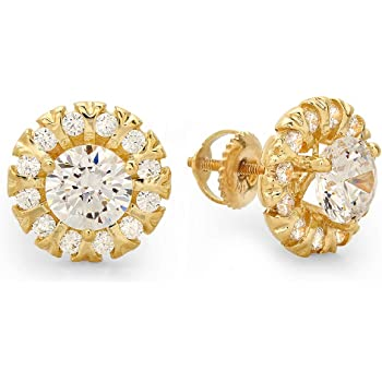 Clara Pucci 0.90 CT Round Brilliant Cut Solitaire Stud Earrings in 14k White Gold Screw Back