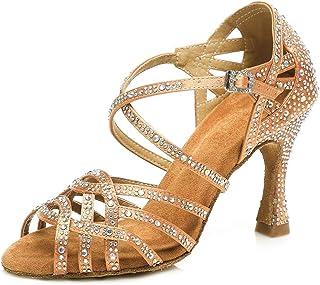 b5a61fe2098d75 HIPPOSEUS Donna Standard Scarpe da Ballo Latino,Strass, Apri Le Dita dei  Piedi,