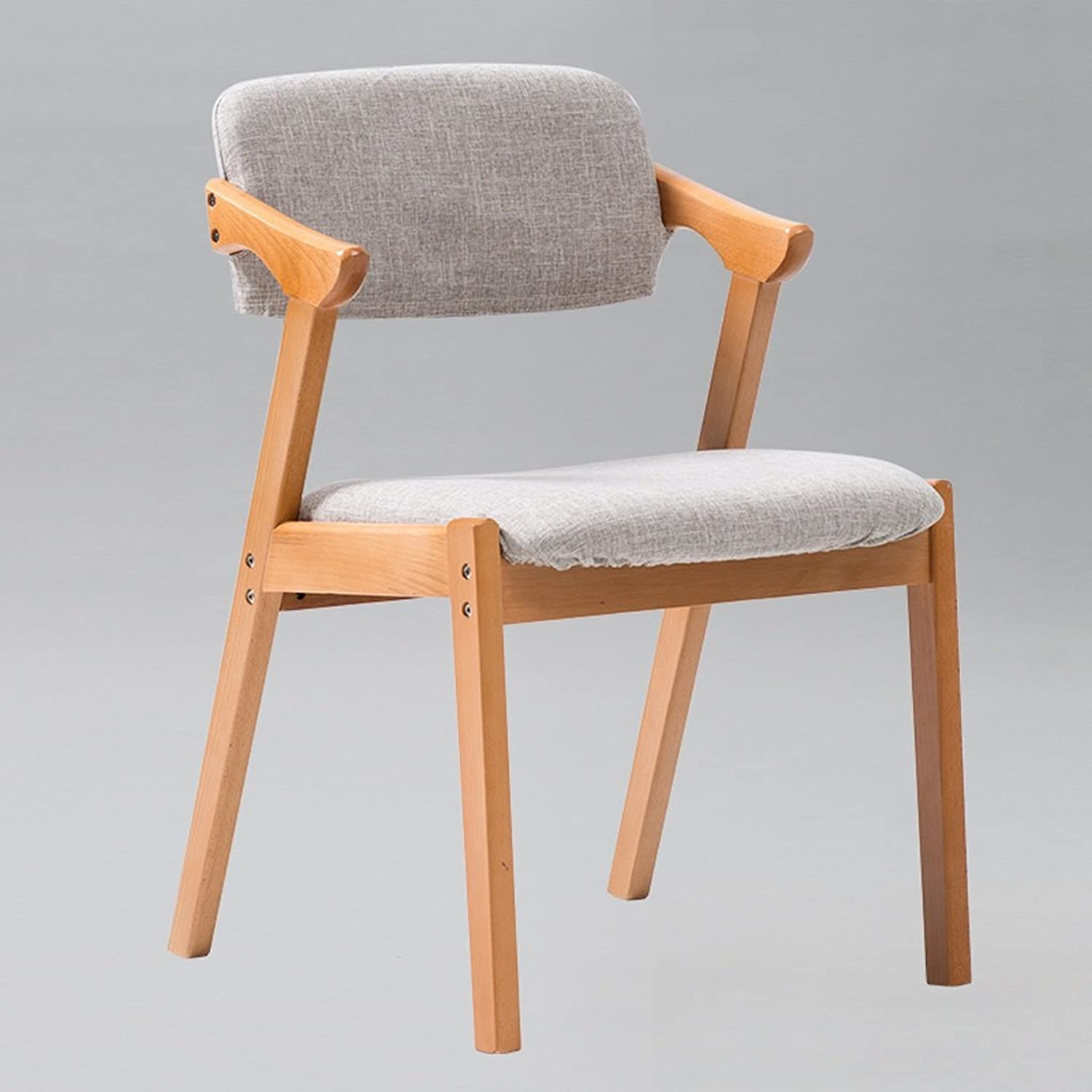 Cloth Art Backrest Stool Family Dining Table Chair Nordic Minimalist Cafeteria Coffee Chair Solid Wooden Stool Feet (color   Beige)