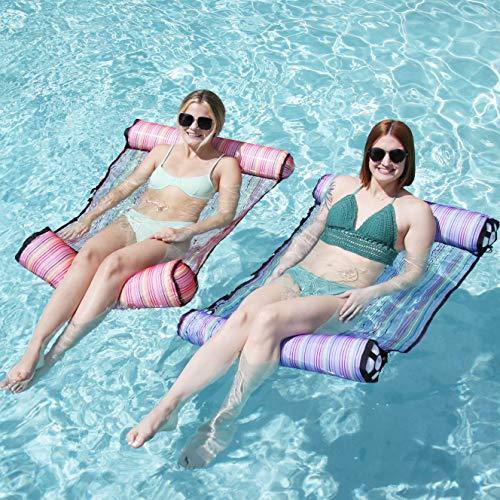 2 Sets 4-in-1 Hammock Inflatable Pool Float with Bonus Air Pump, Premium Swimming Pool Lounger, Multi-Purpose Pool Hammock (Saddle, Lounge Chair, Hammock, Drifter), Water Hammock Lounge