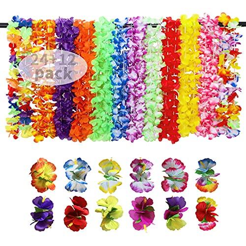 Juego de collar hawaiano con flores hawaianas, 24 unidades de Leis y 12 horquillas de flores hawaianas para fiesta tropical luau hawaiana, corona, flores, fiesta en la playa, fiesta temática, carnaval