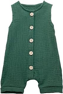 Baby Romper,Toddler Newborn Kids Girls Boys Summer Comfortable Solid Color Button Vest Romper Jumpsuit Clothes