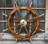 Expressions Enterprises Wooden Ship Wheel, Brass Anchor Captains Wheel Wall Decor 36' Wooden Boats Steering Helm Pirates Decor Wheel (36')