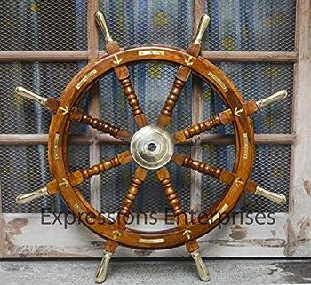 Wooden Ship Wheel  Brass Anchor Captains Wheel Wall Decor 36  Wooden Boats Steering Helm Pirates Decor Wheel  36