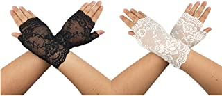 CSPRING Two Pairs of Short Sexy Lace Gloves Women's Fingerless Vintage Floral Lace Gloves for Wedding Party Evening Prom