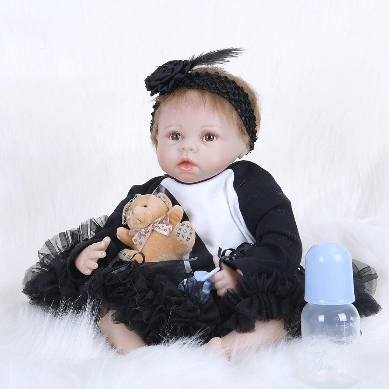 JHGFRT Reborn Babypuppe Simulation Mdchen Spielzeug Neugeborene Puppe Wasserdicht Kann Schwarzes Kleid 55cm Baden,A
