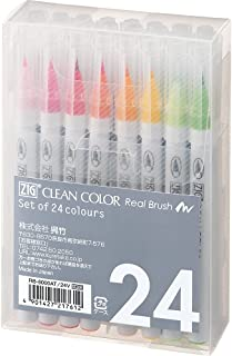 Kuretake Zig Clean Color Real Brush Marker, 24 Colors with Flexible Brush Tips, Watercolor Pens for Painting, Drawing, Cal...