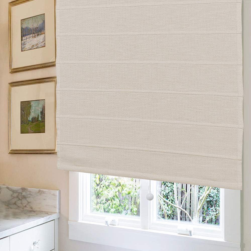Beige Custom Blackout Light Filtering Window Roman Blinds Kitchen Windows Roman Shades Window Shades French Doors 10/% Linen Fabric Roman Shades for Windows Doors