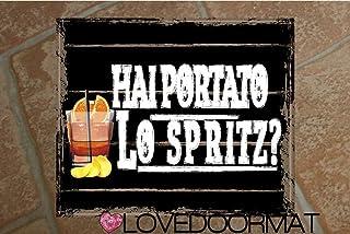 """Tappeto""""HAI PORTATO LO SPRITZ ?"""" personalizzabile in feltrogomma cm. 60x50x0,3 LOVEDOORMAT Marchio Registrato Handmade in ..."""