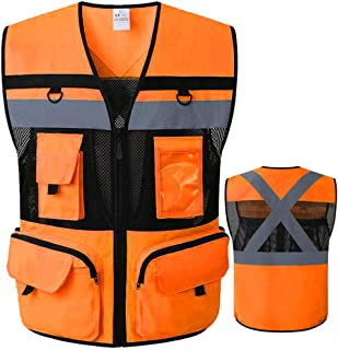9 Pockets ANSI Class 2 High Vis Reflective Safety Vest Mesh Fabric with Zippers Large Pockets Summer Breathable vest