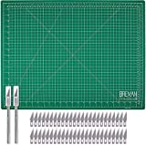 WA Portman Hobby Cutting Mat Craft Knife Set - 18x24 Inch Self Healing Hobby Mat with 2 Professional Hobby Knives and 50 Premium Replacement Blades - Blades Compatible with Most X Acto Knives