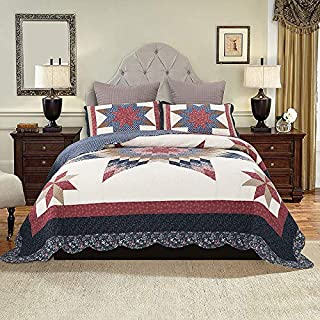 YAYIDAY Bedspread Quilt Set King Size Breathable Cotton Comforter - Floral Quilted Coverlet with Shams, Modern Patchwork Print Red Theme Colorful Star