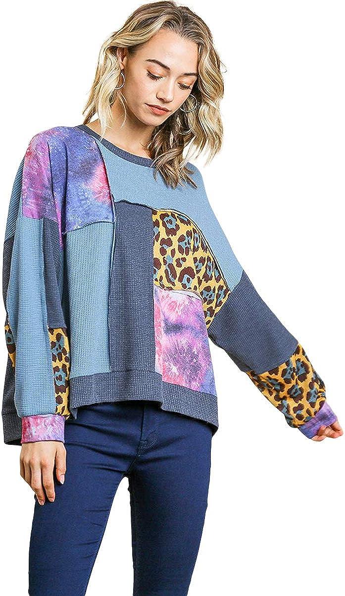 Umgee Women's Animal & Galaxy Mixed Waffle Knit Tunic Top