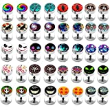 28pcs Cheater Fake Ear Plugs Satinless Steel Gauges Illusion Tunnel Piercing Stud Screw Earrings by Random