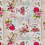 Hans-Textil-Shop Stoff Meterware Rosen Paris Blumen