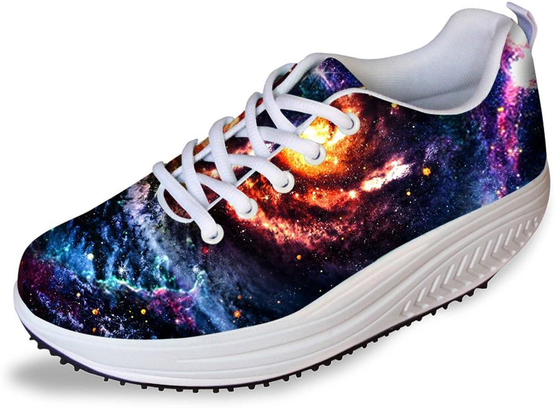 Mumeson Classic Galaxy Women's Fitness Walking Sneaker Toning Platform shoes