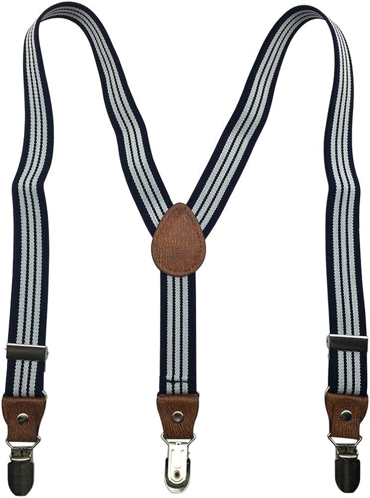Kids and Baby Boys Girls Elastic Adjustable 1 inch Suspenders Multi Color