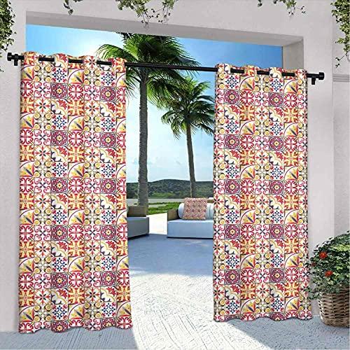 Cortinas marroquíes impermeables para interiores y exteriores, para patio, inspiradas en la cultura italiana, diseño ornamental, para dormitorio, sala de estar, porche, pérgola, 120 x 72 pulgadas
