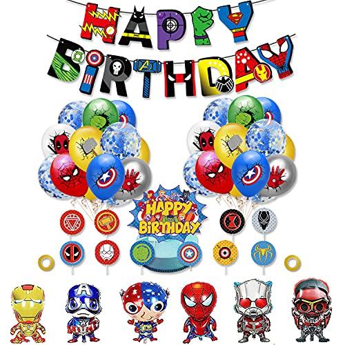 rosepartyh Superhéroes Cumpleaños Decoracion Globos de Superheroes Cumpleaños Marvel Globos de Aluminio Pancarta de Cumpleaños de Para Fiestas Adornos Para Pastel Superheroes Decoraciones