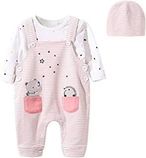Aunavey Infant Baby Girls Organic Cotton Overall One-Piece Strap Loose Backless Jumpsuit Lotus Collar