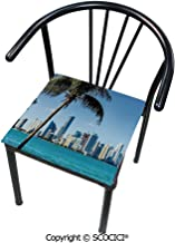 SCOCICI Comfort Memory Foam Square Chair Cushion Miami Downtown with Biscayne Bay Buildings and Palm Tree Panoramic for Home Softness Chair Pads 16