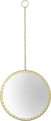 """XUANJIA Gold Hanging Round Wall Mirror Decorative with Macrame and Hanging Chain for Apartment Living Room Bedroom Entryways Home Decor(13.7""""x0.7""""x32.2"""")"""
