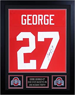 Eddie George Autographed Red Ohio State Jersey - Beautifully Matted and Framed - Hand Signed By Eddie George and Certified Authentic by JSA - Includes Certificate of Authenticity