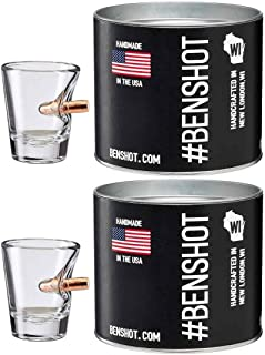 [set of 2] The Original BenShot Shot Glass with Real 0.308 Bullet #Bulletproof MADE in the USA