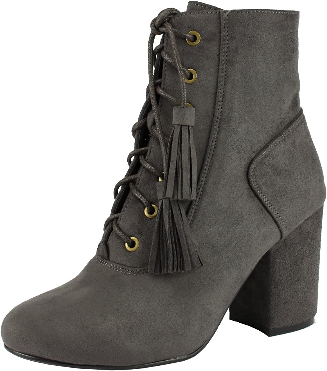 Nature Breeze Women's Closed Toe Lace-up Tassel Chunky Block Heel Ankle Bootie