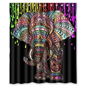"Assaoy Elephant Shower Curtain,Cute Black Elephant Design Waterproof Fabric Bathroom Shower Curtain 60""x 72"""