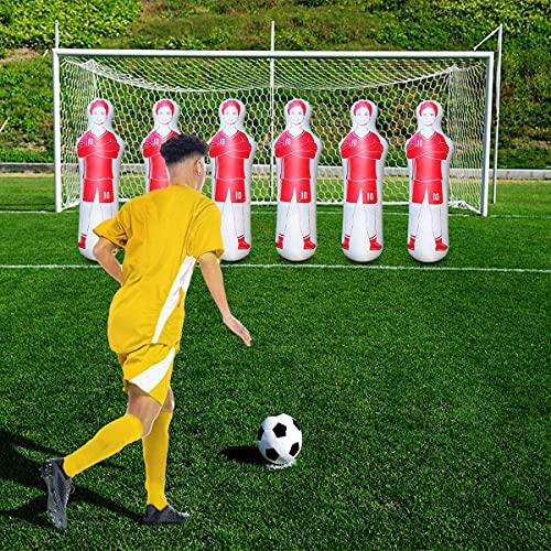 SUNSHINE-MALL Inflatable Soccer Dummy,Boxing Bag,Inflatable Dummy,Inflatable Soccer Dummy Goalkeepr Air Mannequin Free Kick Defender Wall Goalkeeper Defender Training for Children Adult (Red 160cm)