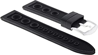 20Mm Rubber Diver Watch Strap Band For 43Mm U-Boat Watch B&B 8015 Chrono Black