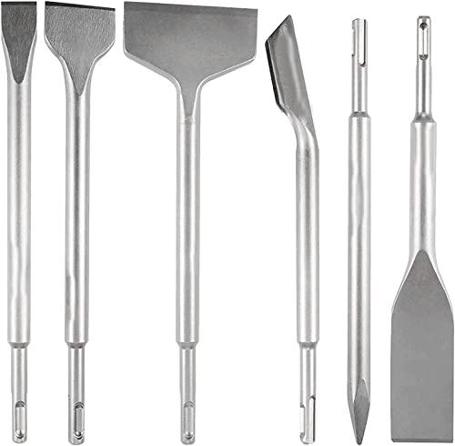 lowest findmall 6-Piece SDS Plus Chisel Set, 40Cr Steel Hammer Drill Tool Set Including Scaling Chisel, Scraping Chisel, outlet online sale Flat Chisel, Tile wholesale Chisel, Point Chisel, Grooving Chisel outlet online sale