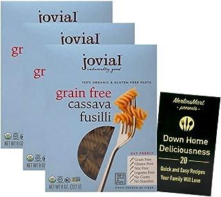 Jovial Organic Gluten-Free Grain-Free Cassava Italian Pasta | Fusilli (8 Ounces) | 3 Count Plus Recipe Booklet Bundle