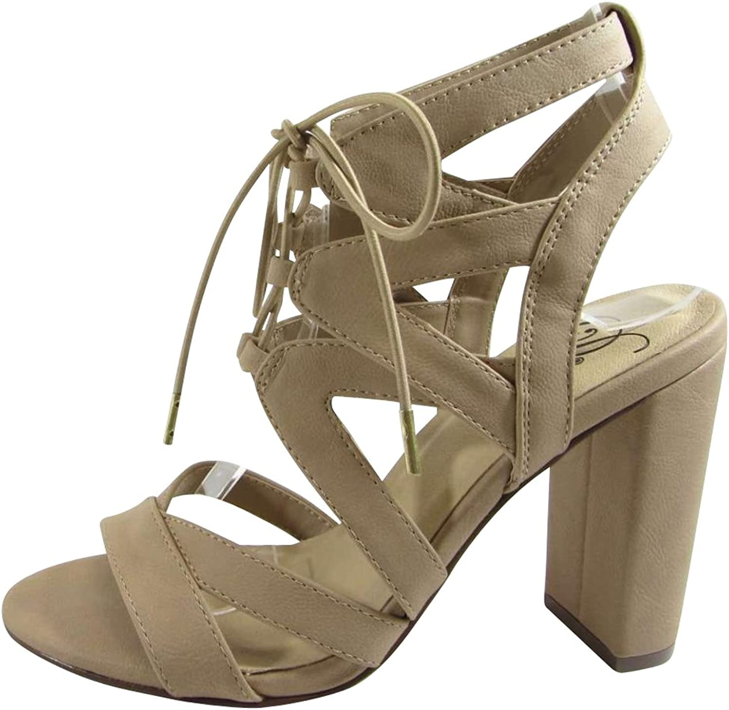 City Classified Footwear Women's Stretch Elastic Ankle Strappy Bungee Lace Chunky Stacked High Heel Dress Sandal