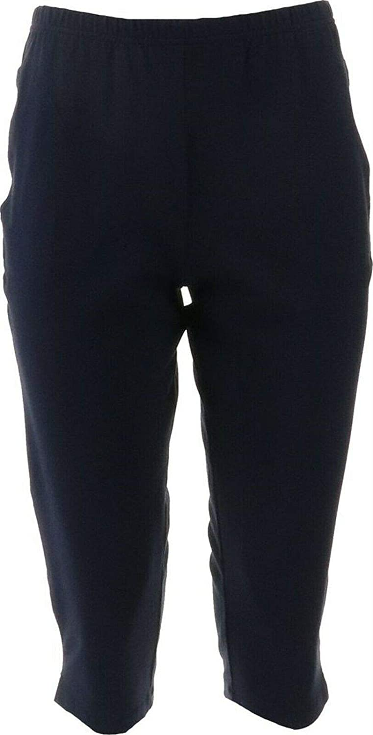 Women with Control Pull-On Pedal Pushers with Pockets A378329 Navy