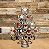 The Heritage Forge Rustic Christmas Table Decorations Made of Real Horseshoes - Hang Ornaments and Great for Festive Holidays - Upward