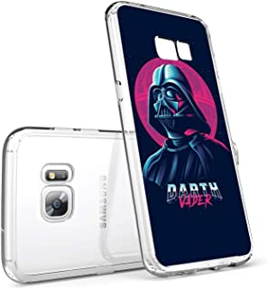 DISNEY COLLECTION Phone Case for Samsung Galaxy S7 Edge Transparent Crystal Clear Side Cover Shockproof Anti-Scratch Protective Shell - Star Wars Darth Vader Disney 80s Art Theme