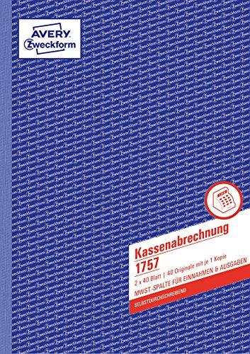 AVERY Zweckform 1757 Kassenabrechnung (A4, mit MwSt.-Spalte, von Rechtsexperten geprüft, für Deutschland und Österreich zur ordnungsgemäßen, kostengünstigen Buchführung, 2x40 Blatt) weiß/gelb