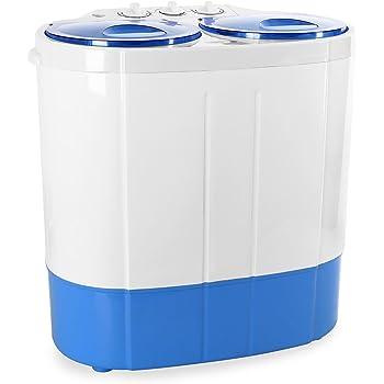 oneConcept DB003 - lavatrice, mini-lavatrice, per campeggiatori, per single, studenti, capacità di lavaggio da 2 kg, potenza 250 watt, capacità spin 120 W, 2 programmi, bianco-azzurro