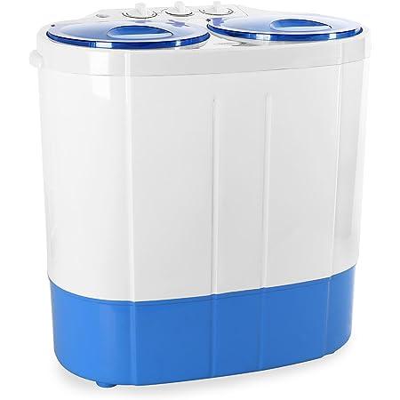 oneConcept DB003 - machine à laver, mini-machine à laver, lave-linge de camping, essoreuse, pour célibataires, étudiants, campeurs, capacité 2 kg, 250 W de puissance de lavage - blanc-bleu