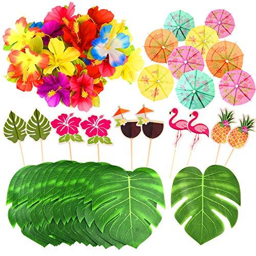 FEPITO 184 PCS Decoraciones Fiesta Tropical Hawaiana Incluye Hojas Palmera, Flores Hibisco, Selecciones Paraguas Bebida, Pajitas Frutas Coloridas y Cupcake Toppers para Luau Party Decorations