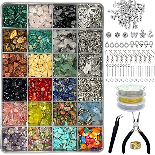 Xmada Jewelry Making Kit - 1587 PCS Beads for Jewelry Making, Jewelry Making Supplies with Crystal Beads, Jewelry Plier, Beading Wire, Earring Hooks, Ring, Bracelet Making Kit for Girls and Adults