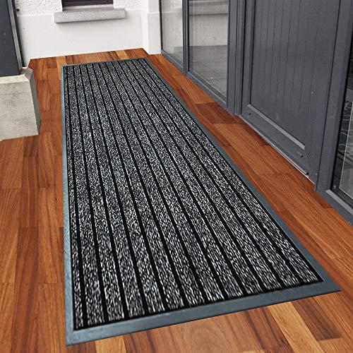 Runner Rug for Hallway 80 X 300 cm, Grey Carpet Runner PVC Rubber Edge Backed Washable Anti Slip Extra Long Runner Rugs for Hallway Narrow Hall, Bedroom Living Room Rug