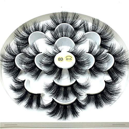 HBZGTLAD NEW 7 Pairs 25mm mink lashes100% mink lashes Soft Dramatic Volume Fake Lashes Reusable Thick False Eyelashes lashes mink(8D-015)