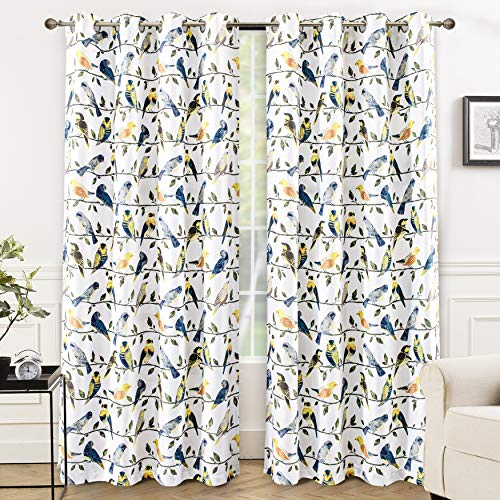 DriftAway Maeve Bird and Branch Printed Pattern Blackout Thermal Insulated Window Curtain Grommet 2 Layers 2 Panels 52 Inch by 84 Inch Teal